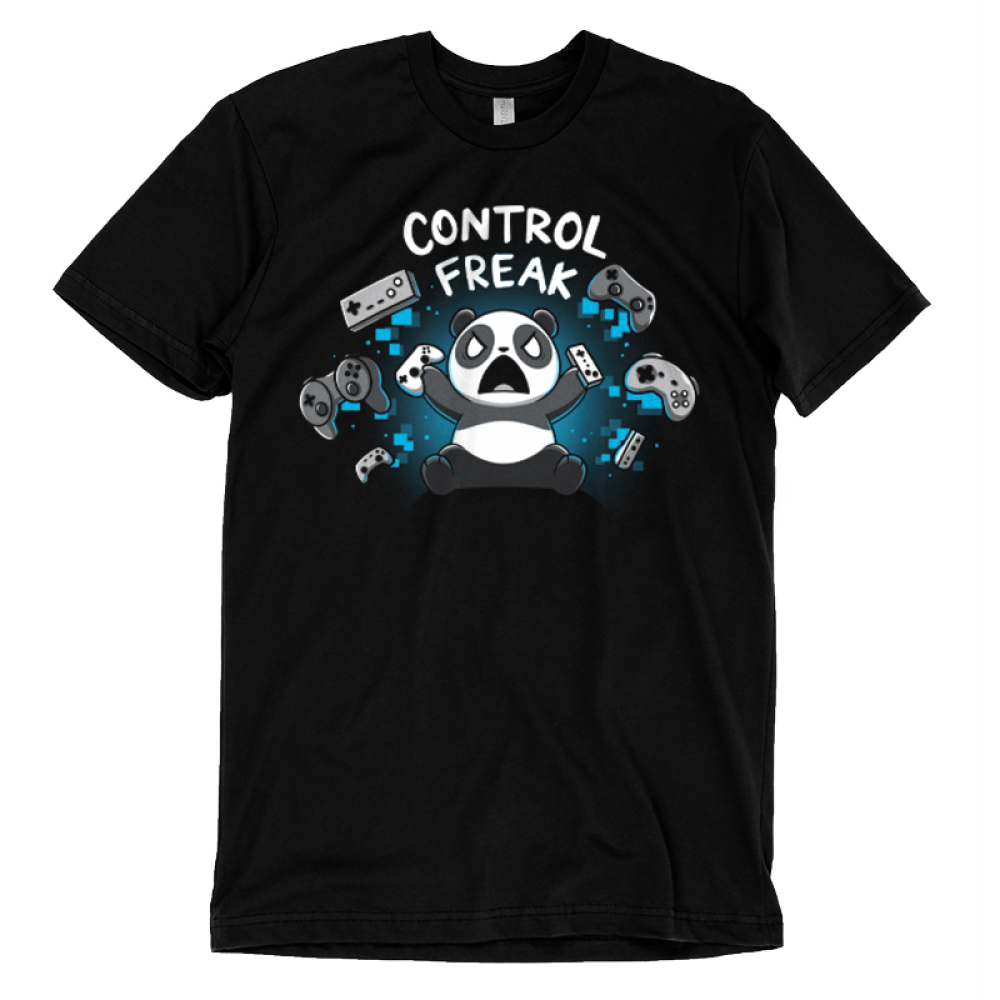 Control Freak t-shirt TeeTurtle black t-shirt featuring an angry looking panda throwing gaming controls everywhere