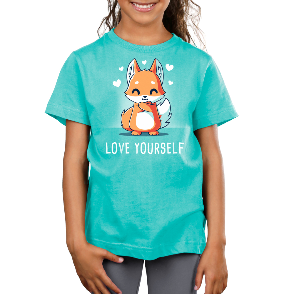 Love Yourself Kid's t-shirt model TeeTurtle caribbean blue t-shirt featuring a fox hugging itself with hearts around him