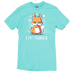 Love Yourself t-shirt TeeTurtle caribbean blue t-shirt featuring a fox hugging itself with hearts around him