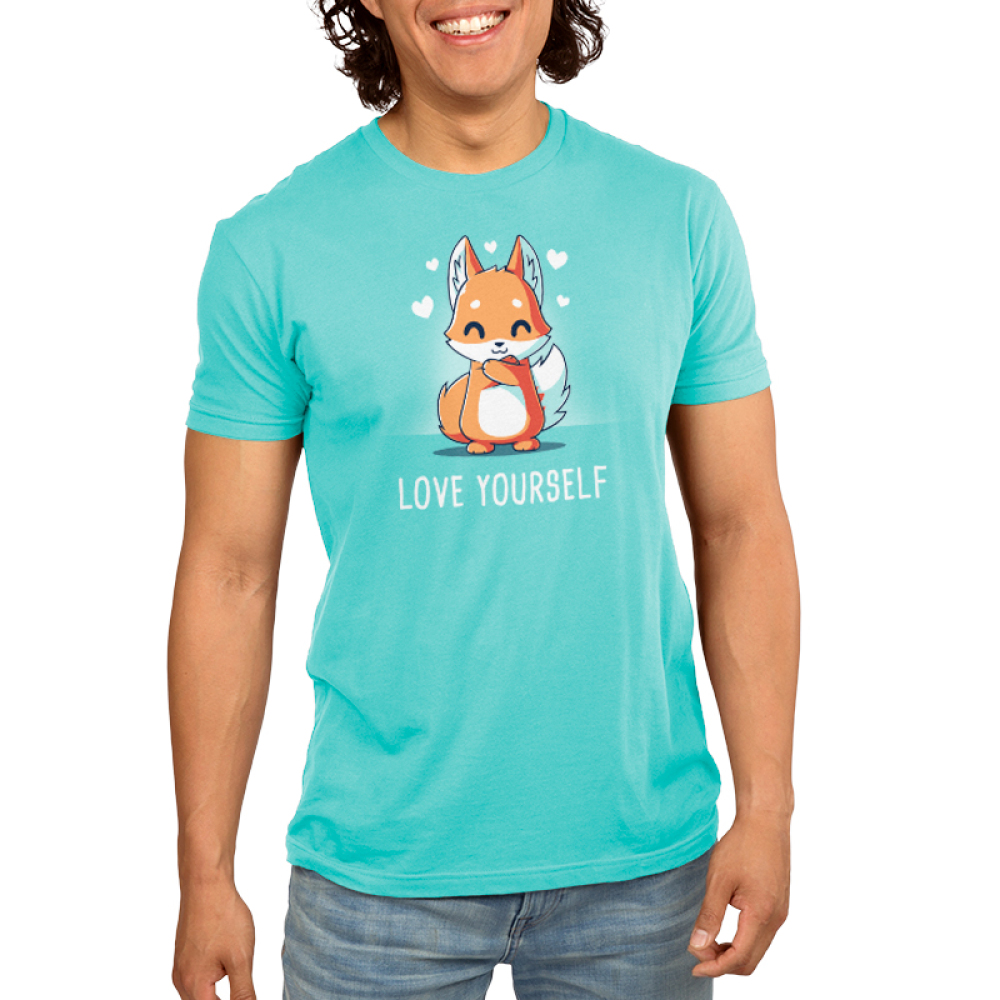 Love Yourself Men's t-shirt model TeeTurtle caribbean blue t-shirt featuring a fox hugging itself with hearts around him