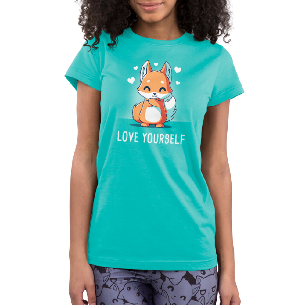 Love Yourself Junior's t-shirt model TeeTurtle caribbean blue t-shirt featuring a fox hugging itself with hearts around him