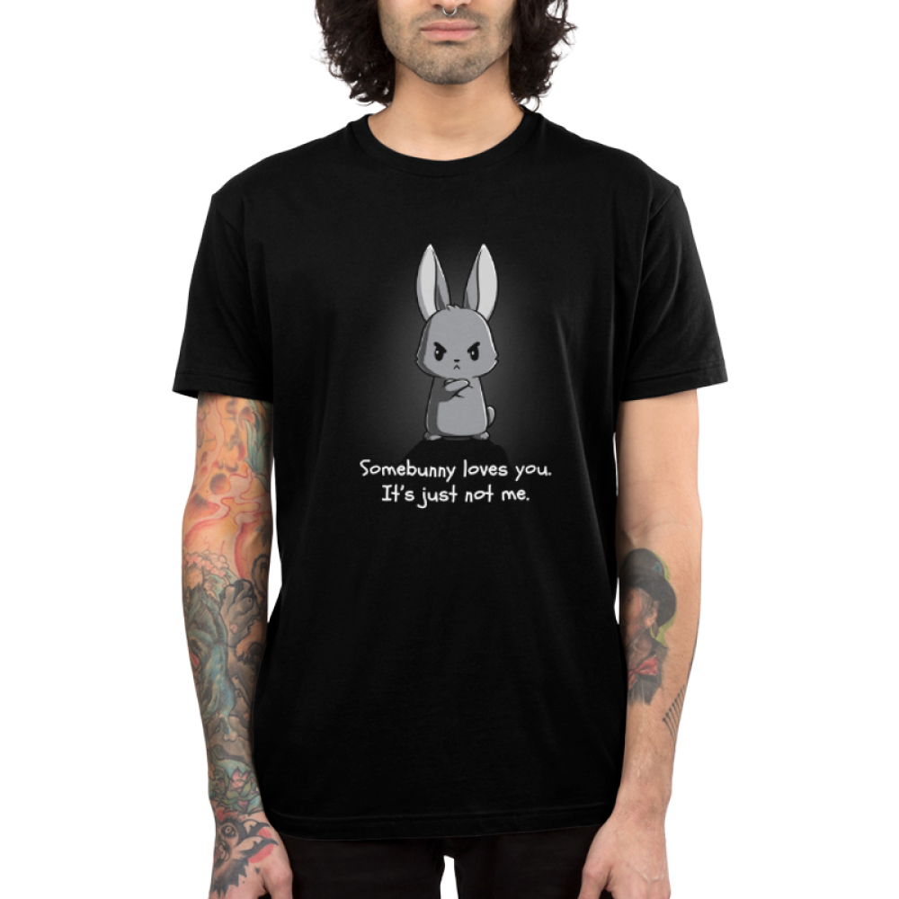 Somebunny Loves You Men's t-shirt model TeeTurtle black t-shirt featuring an angry looking bunny with their arms crossed