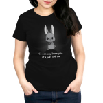 Somebunny Loves You Women's t-shirt model TeeTurtle black t-shirt featuring an angry looking bunny with their arms crossed