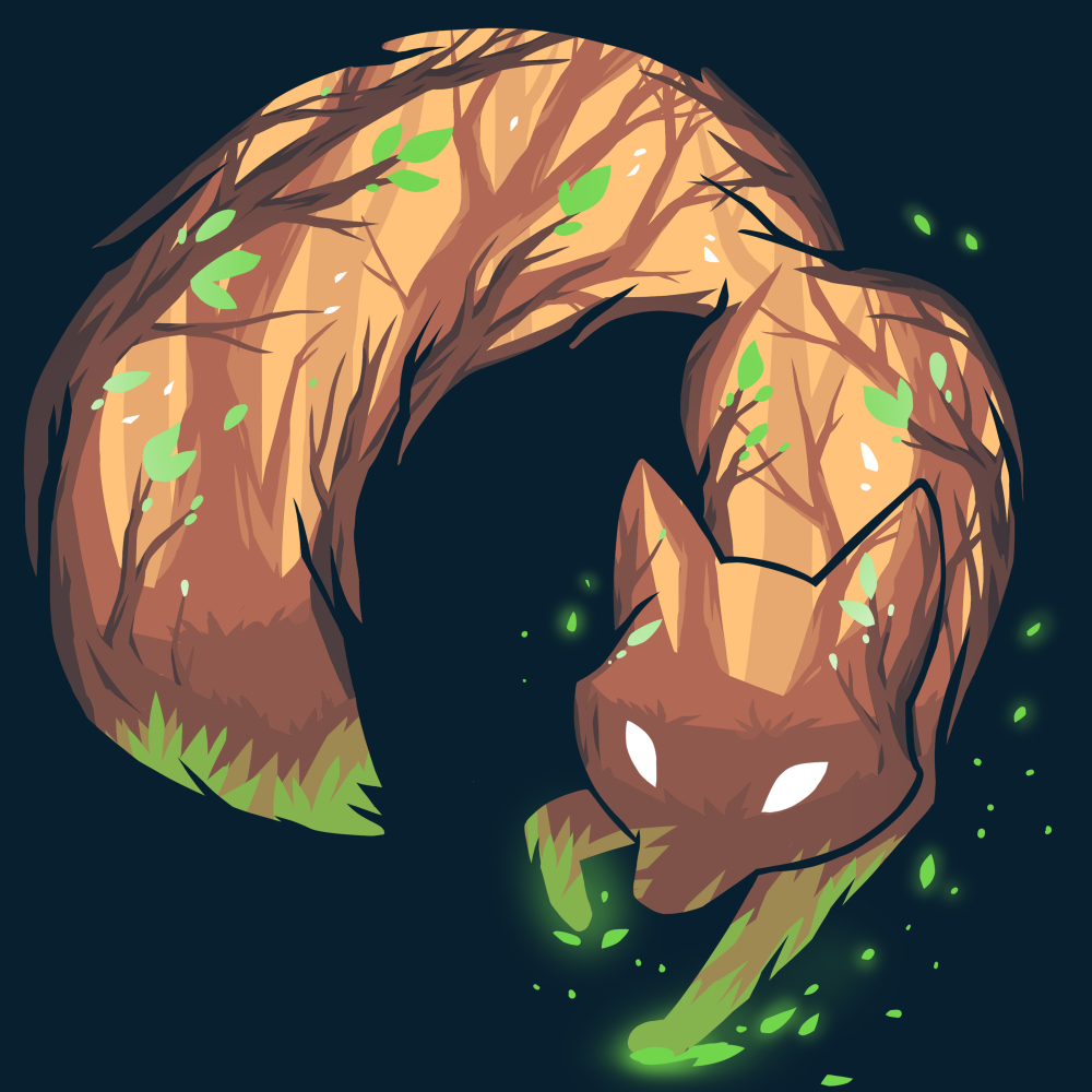 Forest Fox t-shirt TeeTurtle navy t-shirt featuring the outline of a fox with a brown and green forest within the shape of the fox