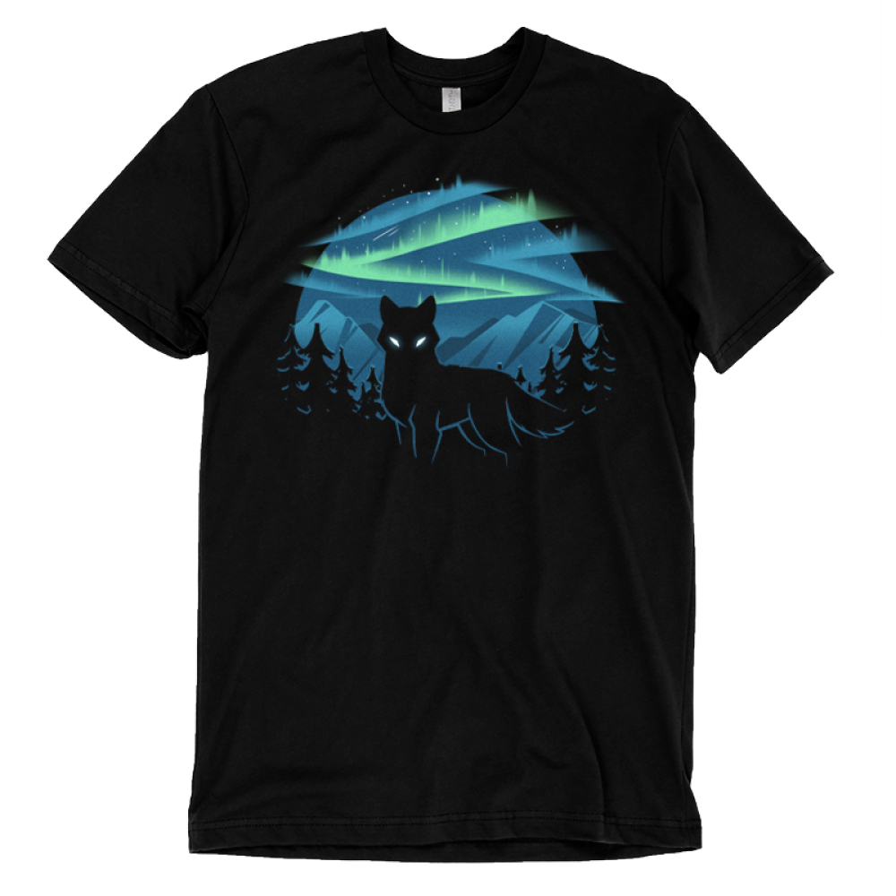Wild Aurora t-shirt TeeTurtle black t-shirt featuring a wolf in a forest in the mountains with the northern lights shinning behind him