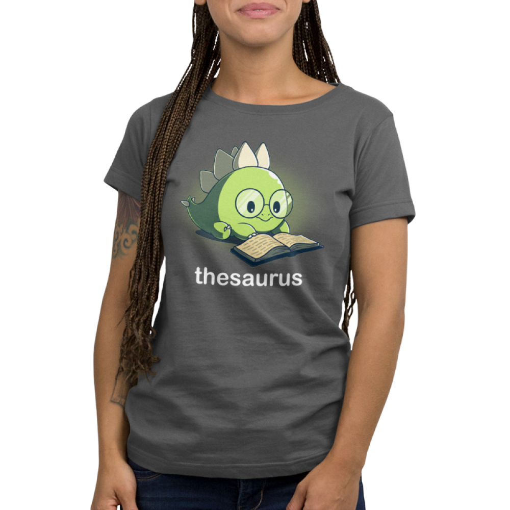 Thesaurus Women's t-shirt model TeeTurtle dark gray t-shirt featuring a green dinosaur with big glasses reading a book
