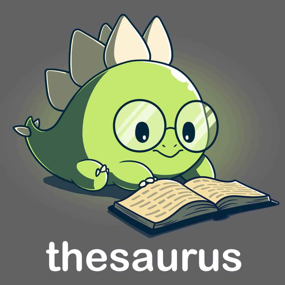 Thesaurus t-shirt TeeTurtle dark gray t-shirt featuring a green dinosaur with big glasses reading a book