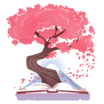 Blossoming Story t-shirt TeeTurtle white t-shirt featuring a tree with pink leaves coming out of an open book with a mountain in the background