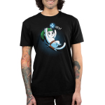Hey! Men's t-shirt model TeeTurtle black t-shirt featuring a cat in a green hat with a sword on his belt trying to catch some glowing blue dots above him
