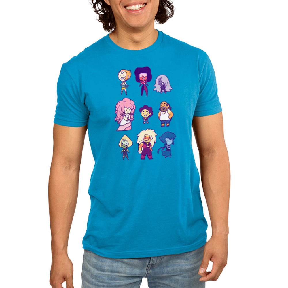 Steven Universe and Friends Men's t-shirt model officially licensed Steven Universe turquoise t-shirt Featuring Pearl, Garnet, Amethyst, Pink Diamond, Steven Universe, Greg Universe, Peridot, Jasper, and Lapis