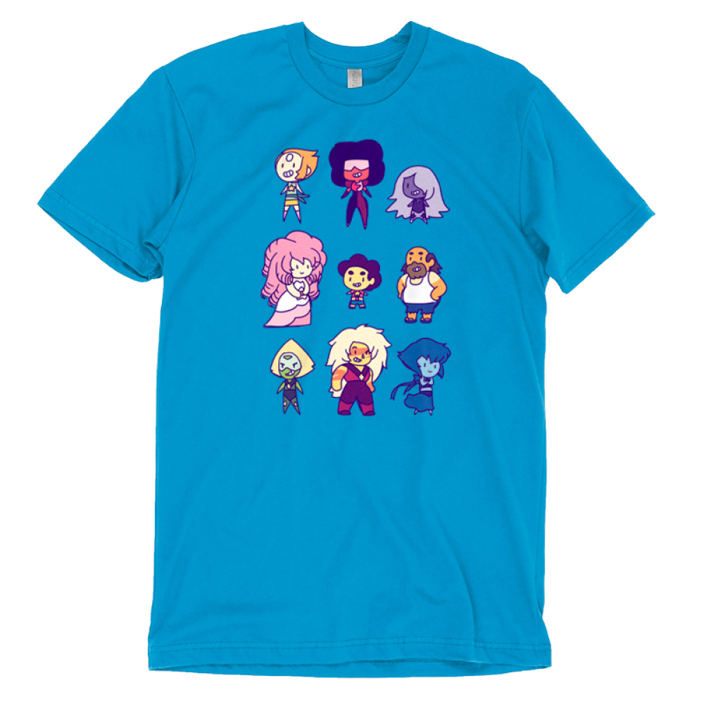Steven Universe and Friends t-shirt officially licensed Steven Universe turquoise t-shirt Featuring Pearl, Garnet, Amethyst, Pink Diamond, Steven Universe, Greg Universe, Peridot, Jasper, and Lapis