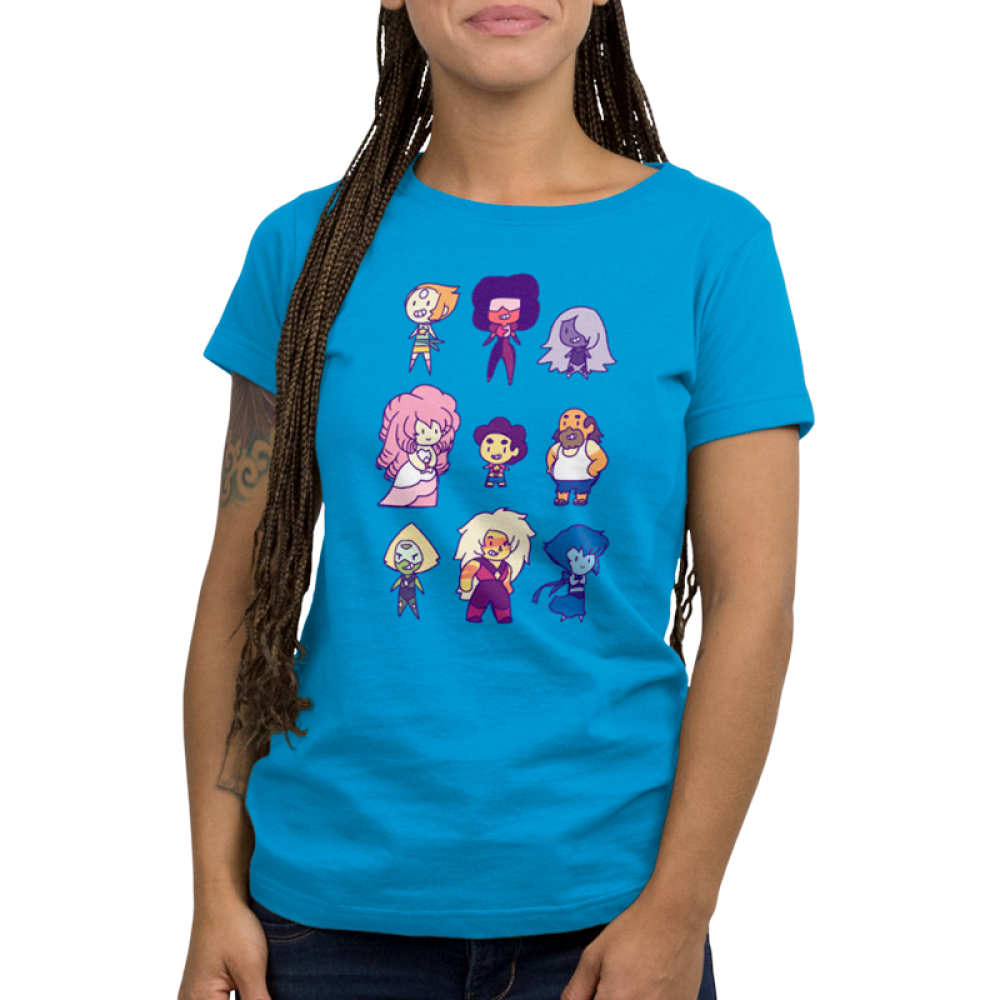 Steven Universe and Friends Women's t-shirt model officially licensed Steven Universe turquoise t-shirt Featuring Pearl, Garnet, Amethyst, Pink Diamond, Steven Universe, Greg Universe, Peridot, Jasper, and Lapis
