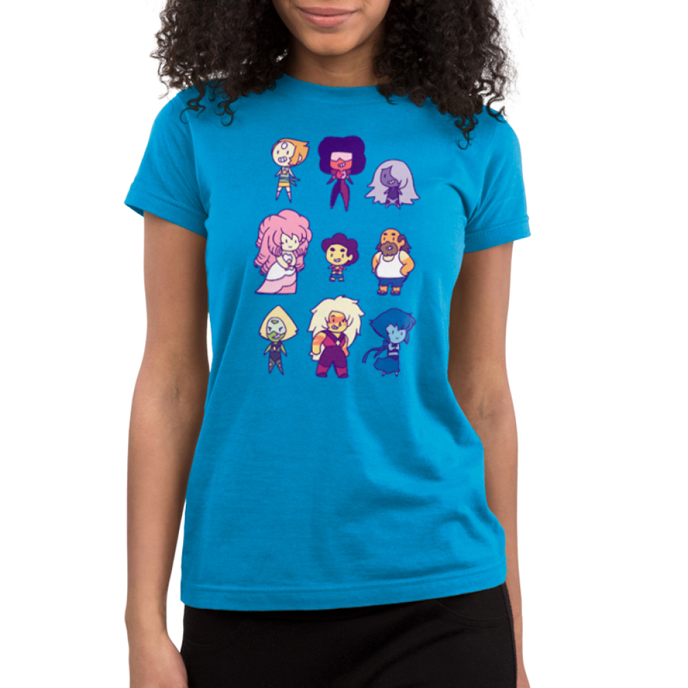 Steven Universe and Friends Junior's t-shirt model officially licensed Steven Universe turquoise t-shirt Featuring Pearl, Garnet, Amethyst, Pink Diamond, Steven Universe, Greg Universe, Peridot, Jasper, and Lapis