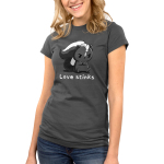 Love Stinks Junior's t-shirt model TeeTurtle dark gray t-shirt featuring an angry looking gray skunk