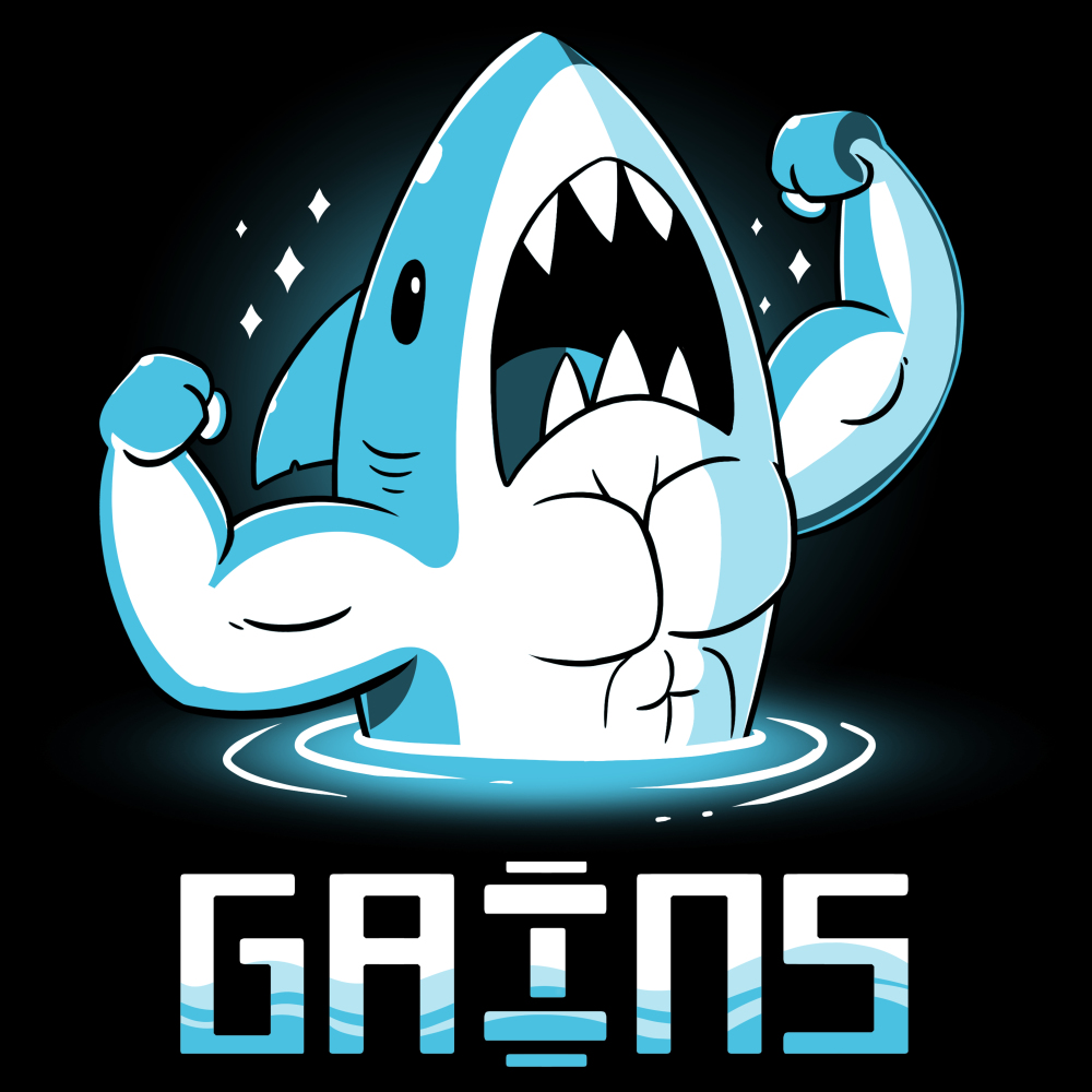 Gains t-shirt TeeTurtle black t-shirt featuring a shark with half his body coming out of the water flexing his big arm and chest muscles