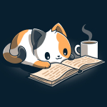 Coffee and a Good Book t-shirt featuring a calico cat laying down reading a book with a steaming cup of coffee next to him