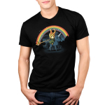 Epic Loki Men's t-shirt model officially licensed black Marvel t-shirt featuring Loki riding a black unicorn making a rainbow with his staff with a night sky behind him