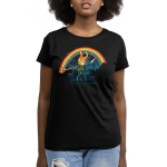 Epic Loki Women's t-shirt model officially licensed black Marvel t-shirt featuring Loki riding a black unicorn making a rainbow with his staff with a night sky behind him
