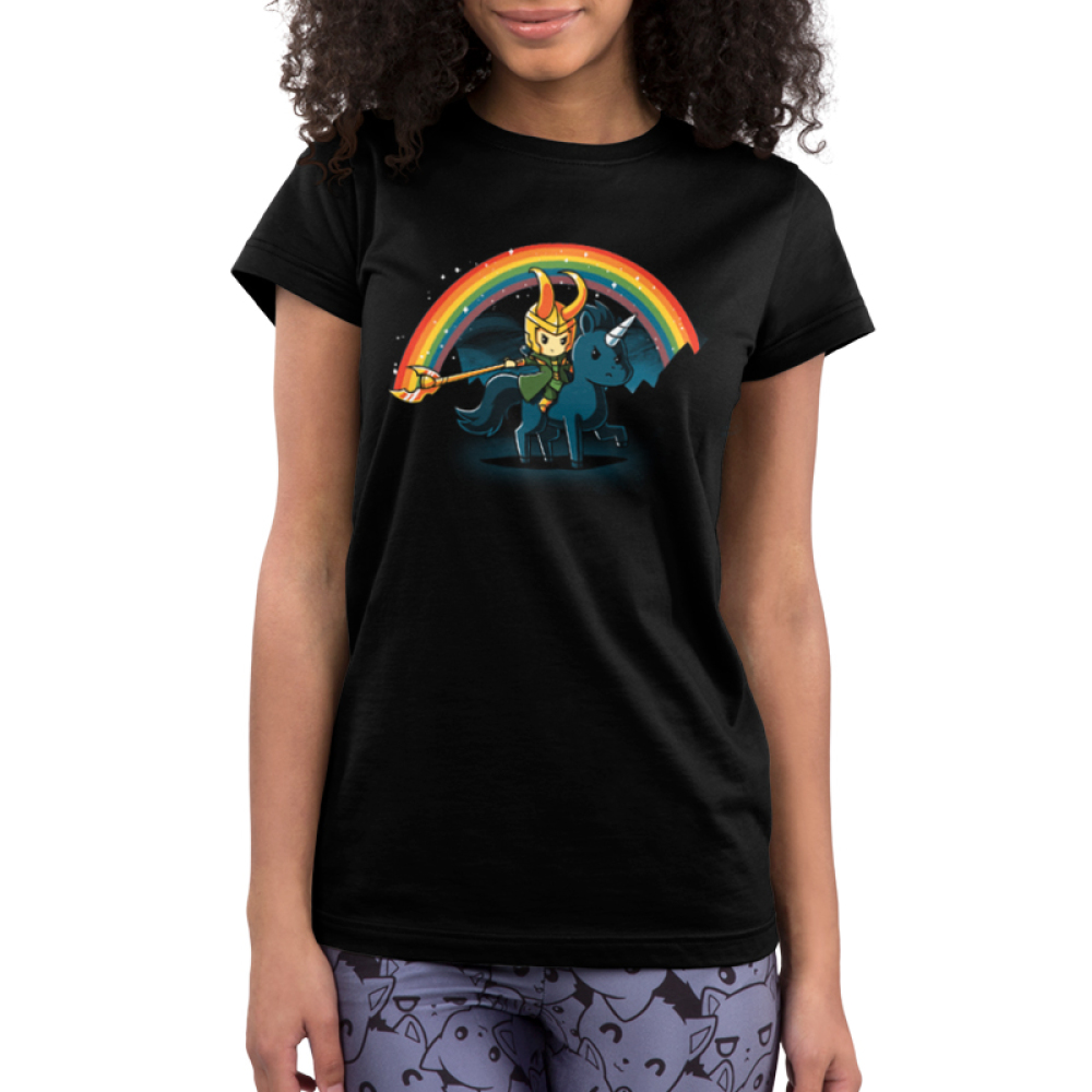 Epic Loki Junior's t-shirt model officially licensed black Marvel t-shirt featuring Loki riding a black unicorn making a rainbow with his staff with a night sky behind him