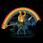 Epic Loki t-shirt officially licensed black Marvel t-shirt featuring Loki riding a black unicorn making a rainbow with his staff with a night sky behind him