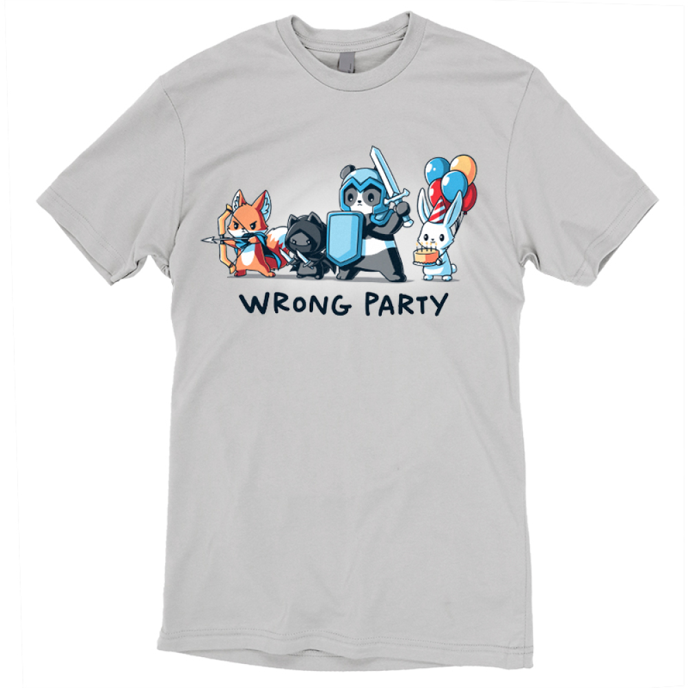 Wrong Party t-shirt TeeTurtle light gray t-shirt featuring a fox, cat, and panda in dress up gaming clothes with a bunny holding a cake and balloons behind them