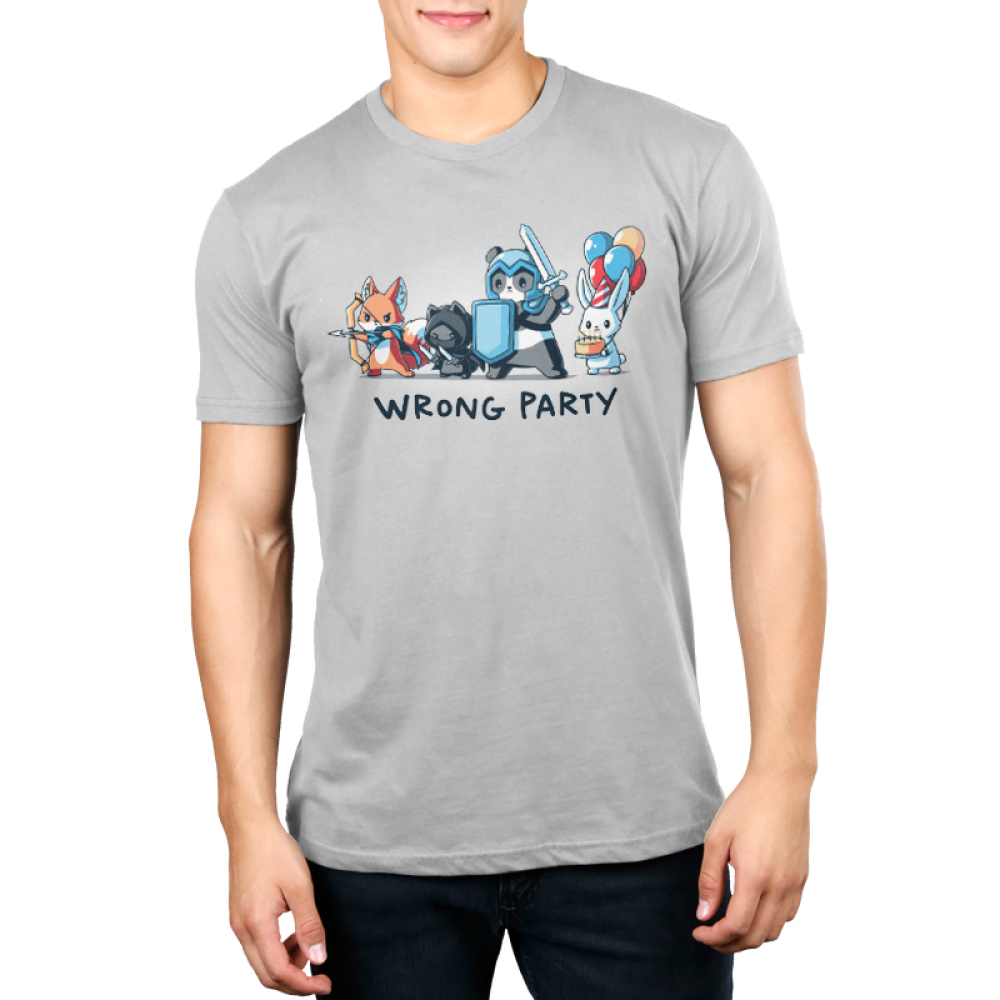 Wrong Party Men's t-shirt model TeeTurtle light gray t-shirt featuring a fox, cat, and panda in dress up gaming clothes with a bunny holding a cake and balloons behind them