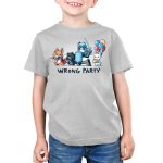 Wrong Party Kid's t-shirt model TeeTurtle light gray t-shirt featuring a fox, cat, and panda in dress up gaming clothes with a bunny holding a cake and balloons behind them