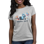 Wrong Party Women's t-shirt model TeeTurtle light gray t-shirt featuring a fox, cat, and panda in dress up gaming clothes with a bunny holding a cake and balloons behind them