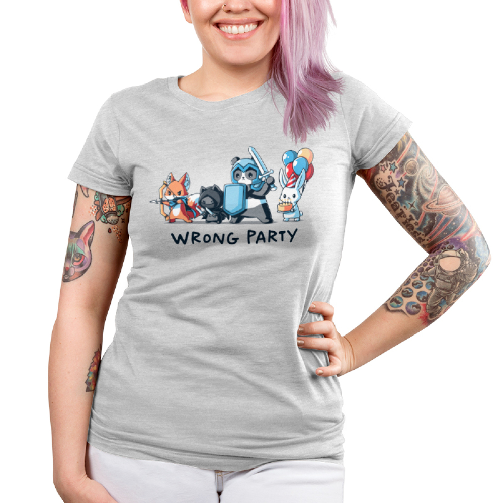 Wrong Party Junior's t-shirt model TeeTurtle light gray t-shirt featuring a fox, cat, and panda in dress up gaming clothes with a bunny holding a cake and balloons behind them