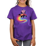 Bing Bong Kid's t-shirt model officially licensed Disney purple t-shirt featuring Bing Bong from inside out flying through the air in a wagon with a rainbow trail behind him