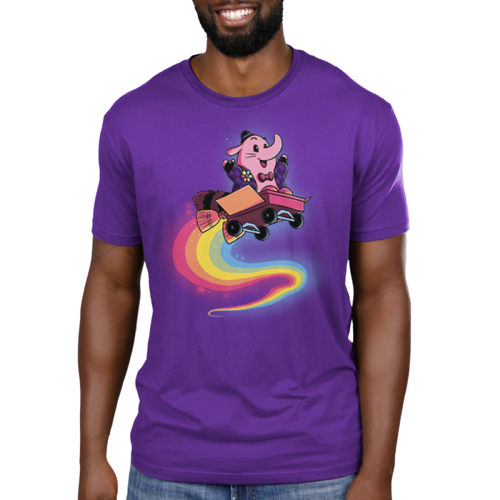 Bing Bong Men's t-shirt model officially licensed Disney purple t-shirt featuring Bing Bong from inside out flying through the air in a wagon with a rainbow trail behind him
