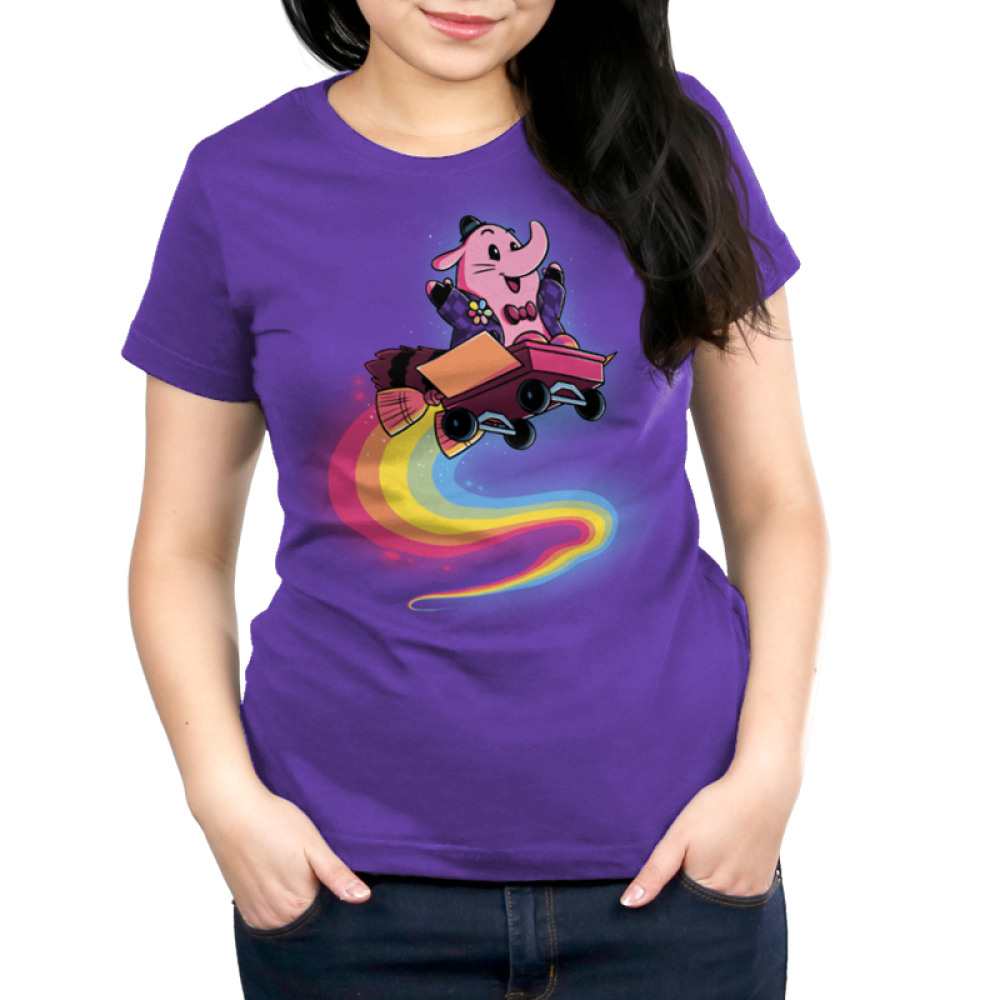 Bing Bong Women's t-shirt model officially licensed Disney purple t-shirt featuring Bing Bong from inside out flying through the air in a wagon with a rainbow trail behind him