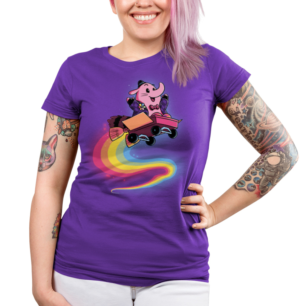 Bing Bong Junior's t-shirt model officially licensed Disney purple t-shirt featuring Bing Bong from inside out flying through the air in a wagon with a rainbow trail behind him
