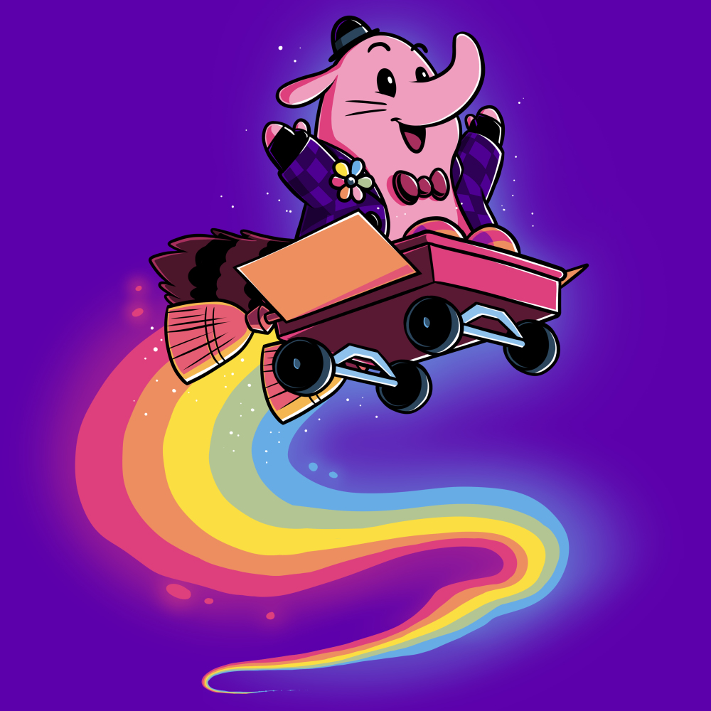 Bing Bong t-shirt officially licensed Disney purple t-shirt featuring Bing Bong from inside out flying through the air in a wagon with a rainbow trail behind him