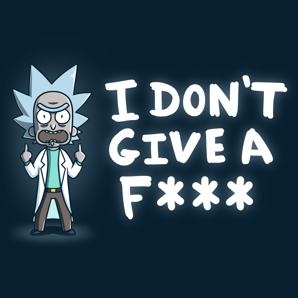 I Don't Give a F*** t-shirt officially licensed navy Cartoon Network t-shirt featuring Rick Sanchez from Rick & Morty standing with his two middle fingers up looking angry