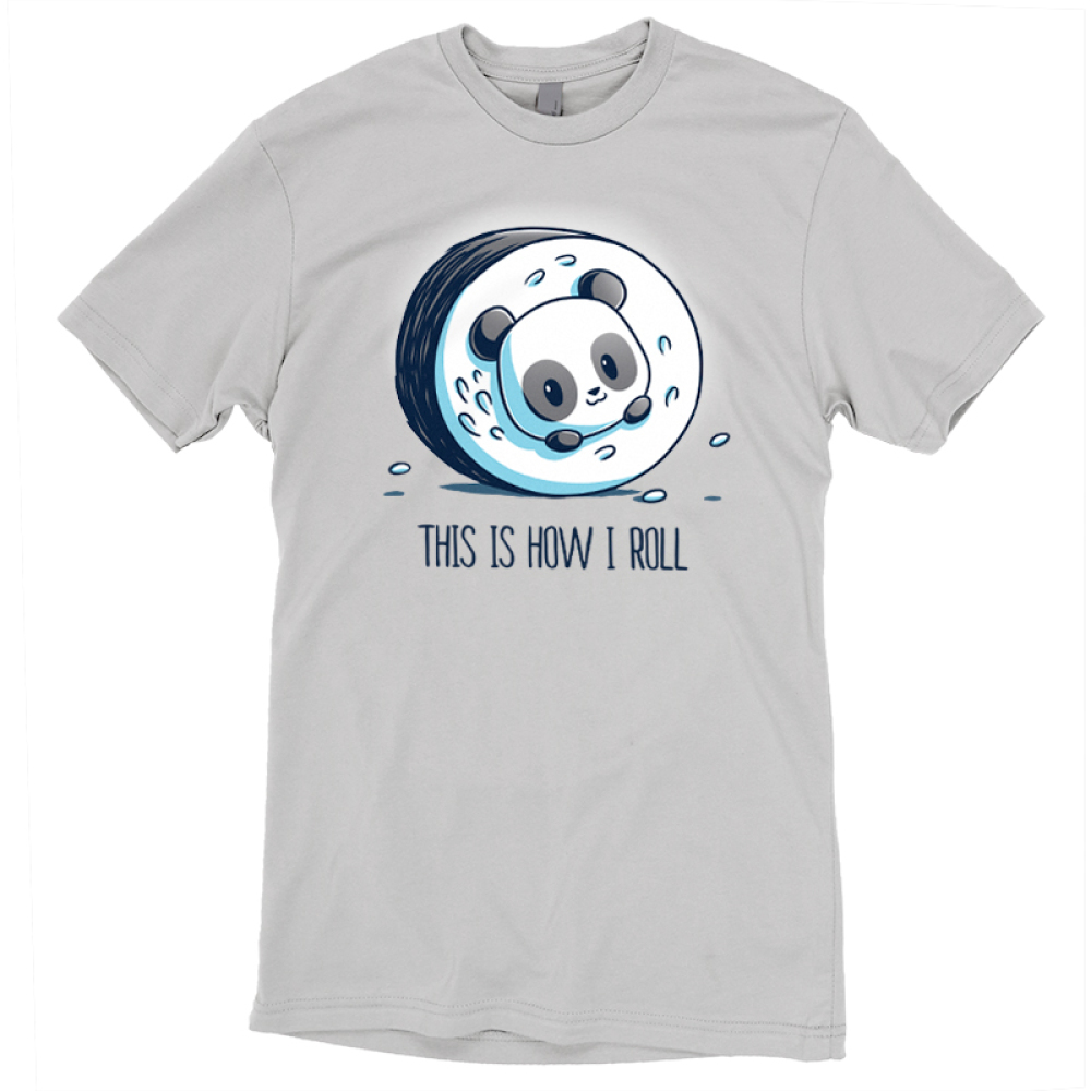 This is How I Roll (Panda) t-shirt TeeTurtle light gray t-shirt featuring a panda rolled up in a sushi