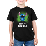 Cute but Deadly Stitch Kid's t-shirt model officially licensed black Disney t-shirt featuring Stitch from Lilo & Stitch standing with him arms up and his eyes glowing