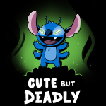 Cute but Deadly Stitch t-shirt officially licensed black Disney t-shirt featuring Stitch from Lilo & Stitch standing with him arms up and his eyes glowing