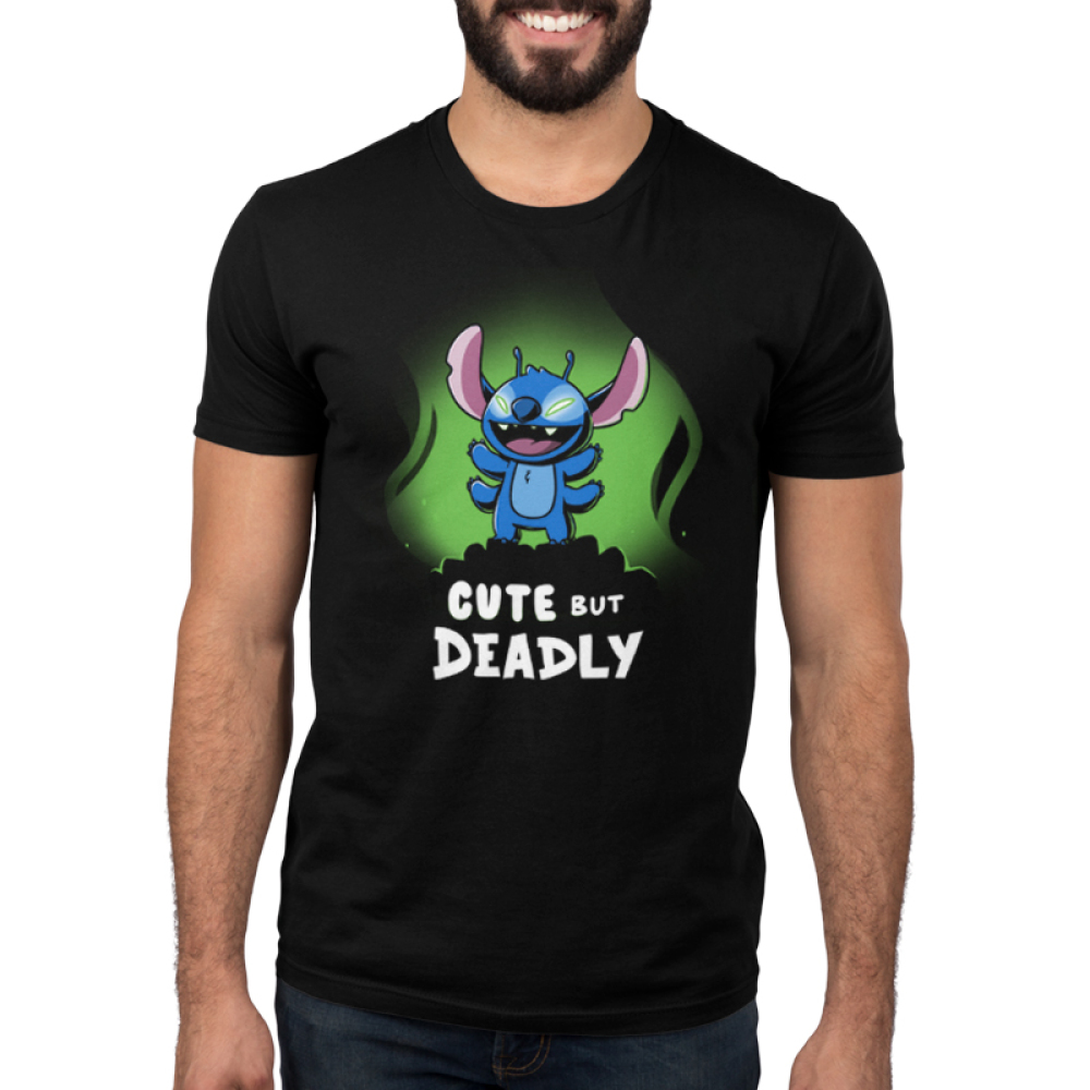 Cute but Deadly Stitch Men's t-shirt model officially licensed black Disney t-shirt featuring Stitch from Lilo & Stitch standing with him arms up and his eyes glowing