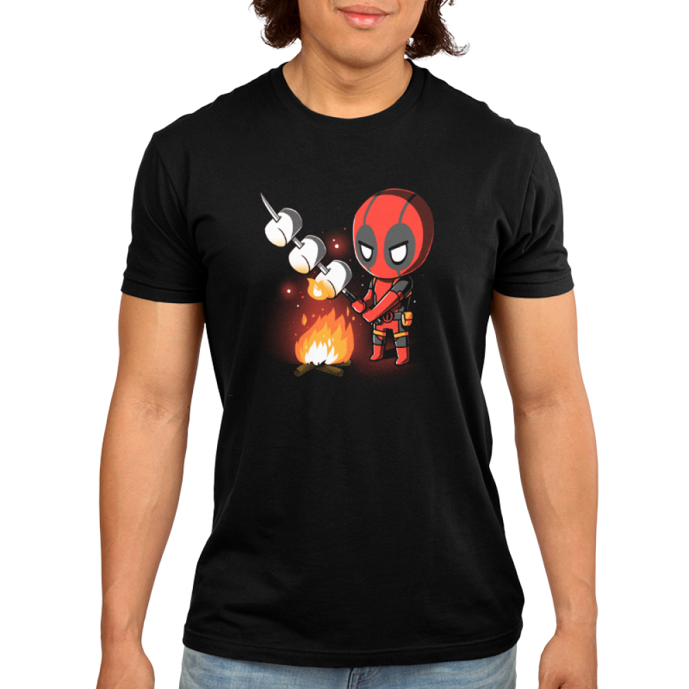 Deadpool Campfire Men's t-shirt model officially licensed black Marvel t-shirt featuring deadpool standing over a fire roasting three marshmallows
