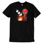 Deadpool Campfire t-shirt officially licensed black Marvel t-shirt featuring deadpool standing over a fire roasting three marshmallows