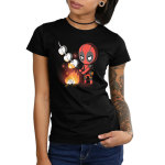 Deadpool Campfire Junior's t-shirt model officially licensed black Marvel t-shirt featuring deadpool standing over a fire roasting three marshmallows