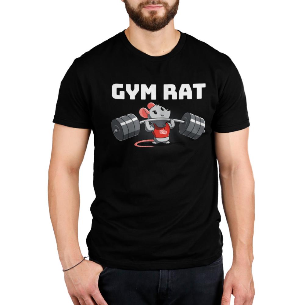 Gym Rat Men's t-shirt model TeeTurtle black t-shirt featuring a rat in a red tank top lifting a bar bell