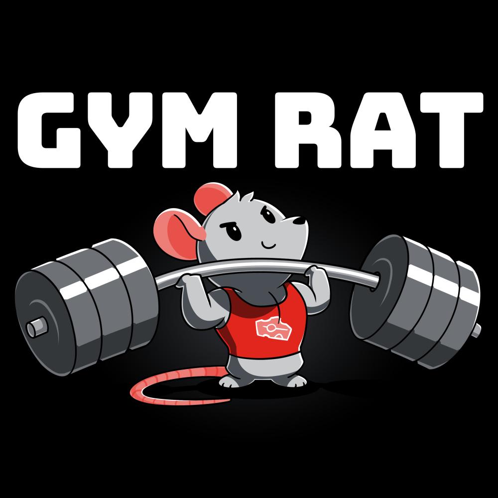 Gym Rat t-shirt TeeTurtle black t-shirt featuring a rat in a red tank top lifting a bar bell