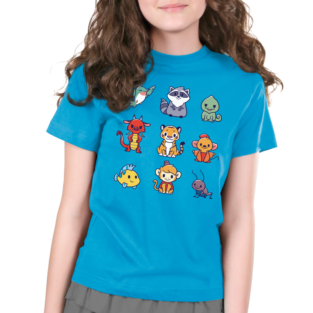 Companions Kid's t-shirt model officially licensed cobalt blue disney t-shirt featuring various disney princess animal companions