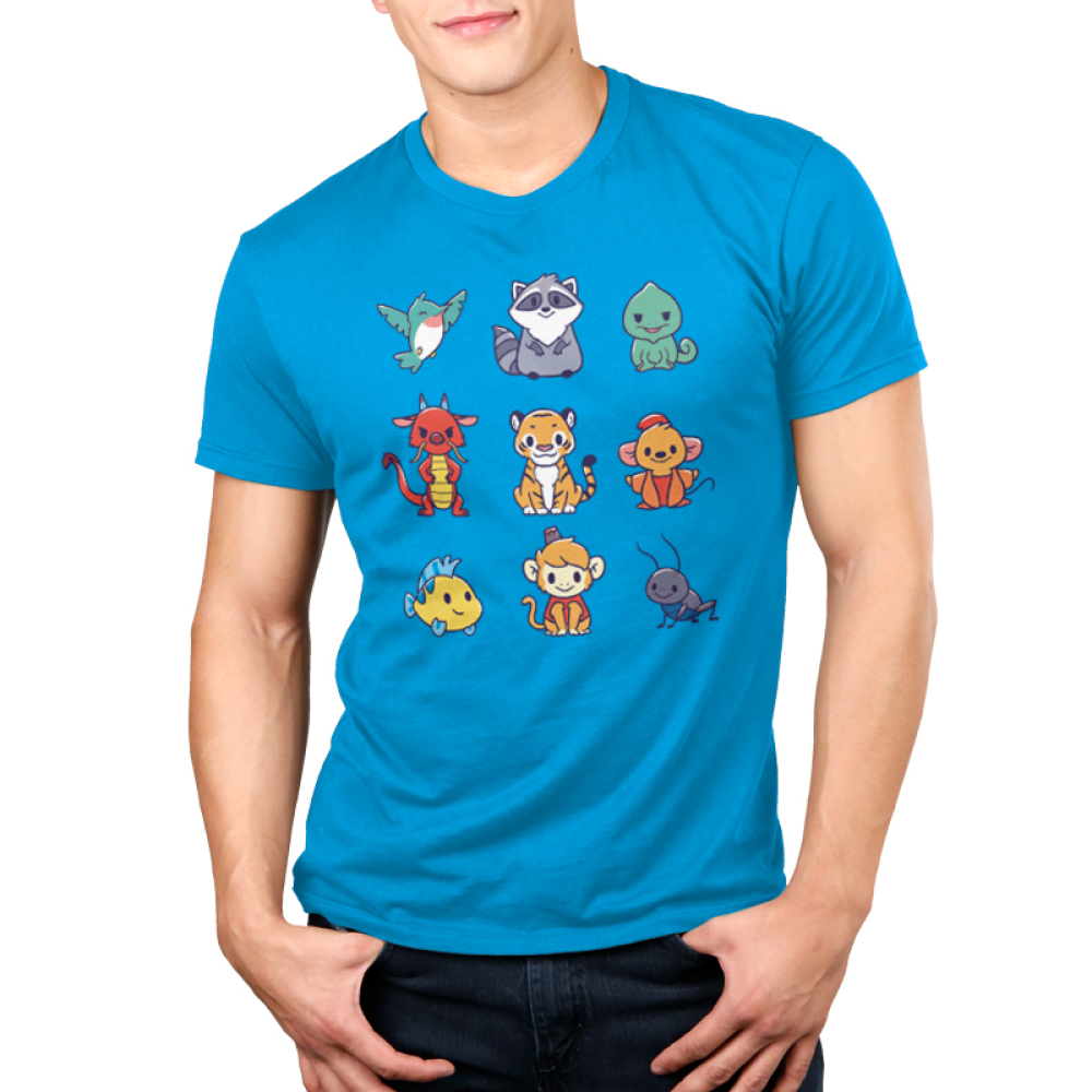 Companions Men's t-shirt model officially licensed cobalt blue disney t-shirt featuring various disney princess animal companions