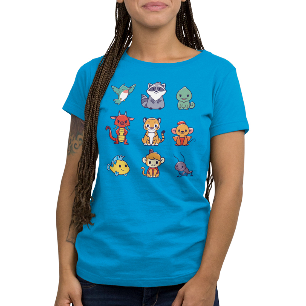 Companions Women's t-shirt model officially licensed cobalt blue disney t-shirt featuring various disney princess animal companions