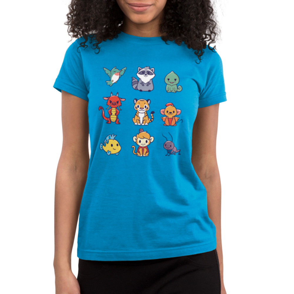 Companions Junior's t-shirt model officially licensed cobalt blue disney t-shirt featuring various disney princess animal companions