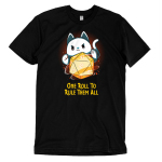 One Roll To Rule Them All t-shirt TeeTurtle black t-shirt featuring a cat with its paws around a big tabletop gaming dice