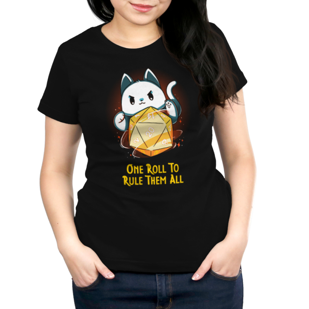 One Roll To Rule Them All Women's t-shirt model TeeTurtle black t-shirt featuring a cat with its paws around a big tabletop gaming dice